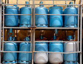 Storage with bottles of gas — Stock Photo