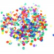 Stock Photo: Colorful confetti over white background