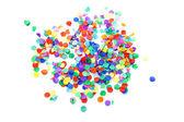 Confettis colorés sur fond blanc — Photo