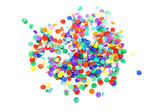 Colorful confetti over white background — Stock Photo