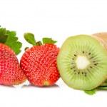 Strawberries an kiwi fruits — Stock Photo