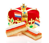 Typical Dutch tompouce sweet with crown — Stock Photo