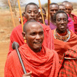 Stock Photo: AFRICA, KENYA, MASAI MARA - JULY 2: Masai warriors dancing tradi