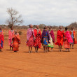 Stock Photo: AFRICA, KENYA, MASAI MARA - JULY 2: Masai females dancing tradit