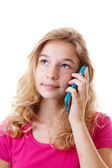 Girl is calling on mobile phone — Stock Photo