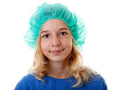 Girl with operation clothed — Stock Photo