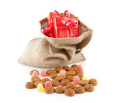 Typical Dutch celebration: Sinterklaas with surprises in bag and — Foto de Stock