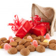 Typical Dutch celebration: Sinterklaas with surprises in bag and — Stock Photo #34374025