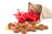 Typical Dutch celebration: Sinterklaas with surprises in bag and — Stock Photo