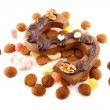 Decorated Chocolate letter S for Sinterklaas with ginger nuts — Stock Photo #34400331