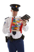 Dutch police officer is counting vouchers quotas with abacus ove — Stock Photo