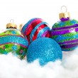 Colorful glitter Christmas balls — Stock Photo
