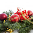 Christmas decoration on pine tree — Stock Photo