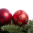 Red Christmas balls on pine tree — Stock Photo