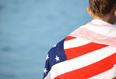 American flag on beach — Stock Photo