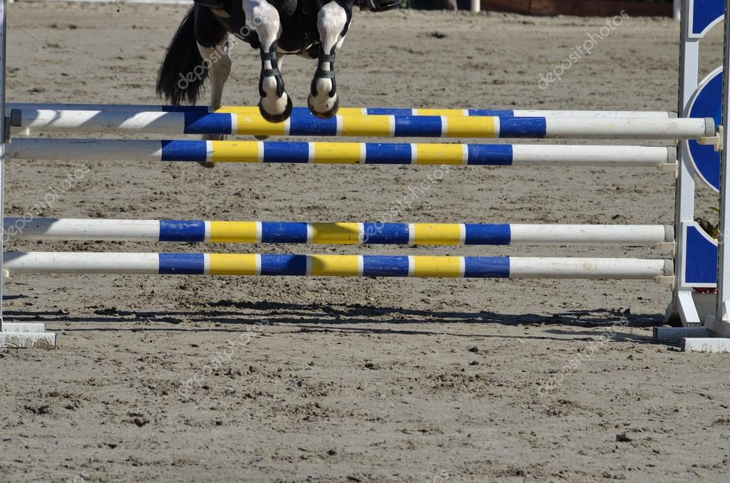 Horse jumping over the barrier — Stock Photo #13995441