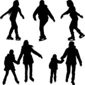 Skating silhouette vector — Stock Vector