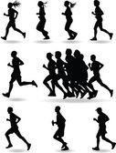 Runner silhouette vector — Stock Vector