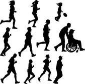 Paraplegic person as a runner — Vector de stock