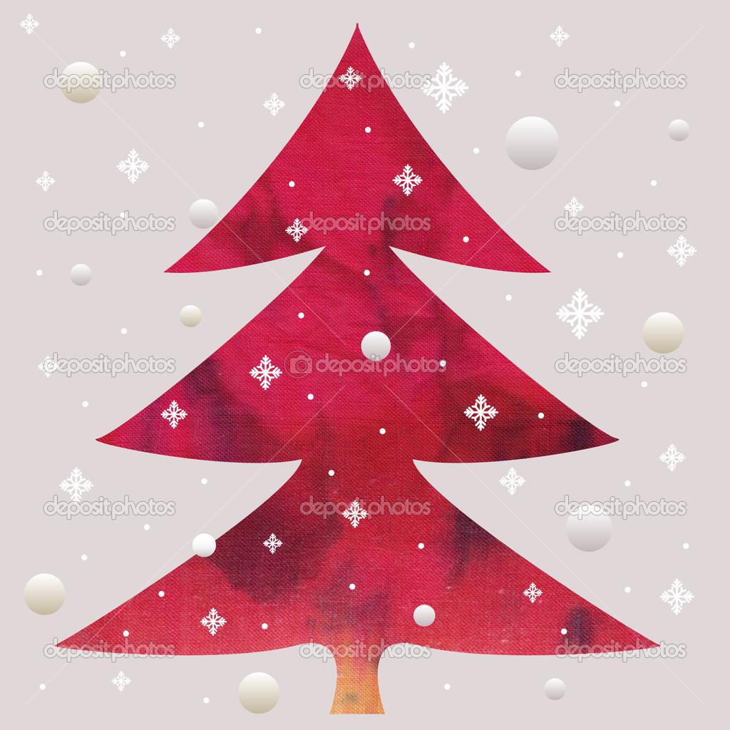 红色蜡染圣诞树拼贴画– 图库图片