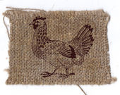 Chicken drawing on linen background — Stock Photo