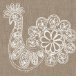 Lace bird on linen background — Stock Photo