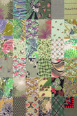 Collection of quilt backgrounds - green — Stock Photo