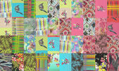 Collection of quilt backgrounds - neon colors — Stock Photo