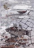 Paesaggio marino con pesci e rete — Foto Stock