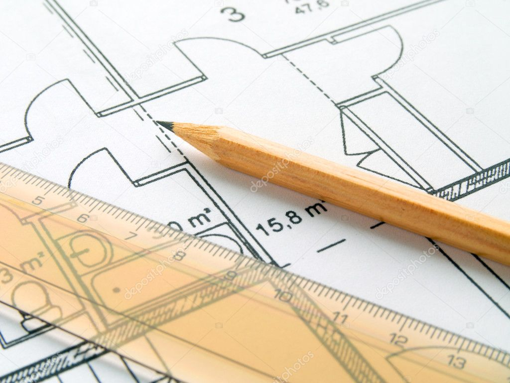 Computer plan drawing scheme house apart stock photo for Draw house plans on computer