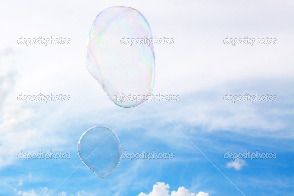 Soap bubbles fly through the air  Stock Photo #13547844