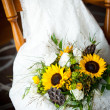 Wedding still life with bouquet and dress — Stock Photo #20100251