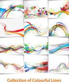 Affiche ligne vague abstrait — Vecteur