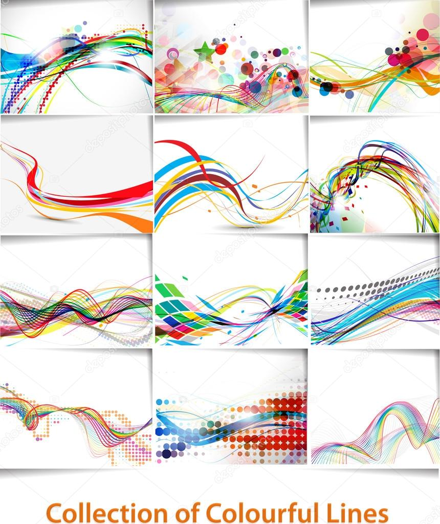 Set of abstract wave line poster with space of your text.  — Stock Vector #14129864