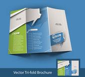 Call Center Tri-fold brochure design, vector illustartion — Stock Vector