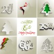 Collection of merry christmas and new year 2014, vector — Vector de stock
