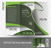 Tri-fold Dental Brochure Design Vector Illustration. — Stock Vector