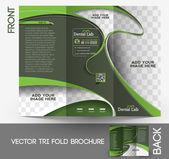 Tri-fold Dental Brochure Design Vector Illustration. — Stock Vector