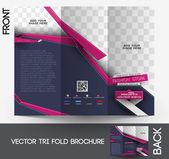 Tri-fold Fashion Brochure Design Vector Illustartion. — Stock Vector