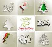 Collection of merry christmas and new year 2014, vector — Stock Vector
