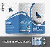 Przechowywania mleka tri-fold makiety i przednią projektowanie broszur. — Wektor stockowy