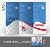 Auto centrum tri-fold bespotten omhoog & brochure ontwerpen — Stockvector