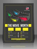 Film miesiąca przedniej ulotki szablon — Wektor stockowy