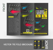 The Movie Month Tri-Fold Mock up & Brochure Design — Stock Vector