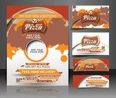 Bündel von Pizza Shop Flyer, Visitenkarte, Header & banner — Stockvektor