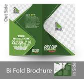 Bi-Fold Golf Tournament Mock up & Brochure Design — Stock Vector