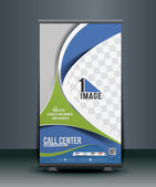 Call Center Roll Up Banner — Stock Vector