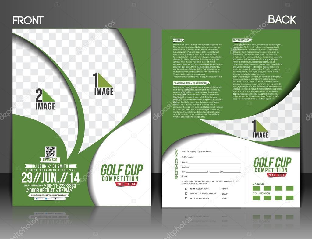 golf tournament front back flyer template stock vector redshinestudio 47398543. Black Bedroom Furniture Sets. Home Design Ideas
