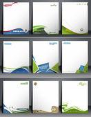 Nine Business Style Corporate Identity Leterhead Template — Stock Vector
