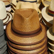 Stock Photo: Group of hats on the market